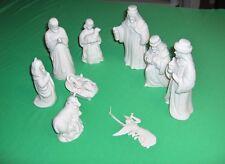 Lenox China 9 Pc Set Nativity Commemorative 2000 White Bisque Figurines