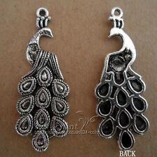 P127 6pcs Tibetan Silver Charms retro peacock  Accessories Findings Wholesale