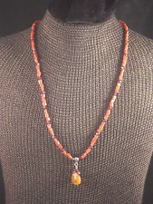 """Liza Shtromberg Coral & Amethyst Beaded Necklace with Cognac Citrine Pendant 16"""""""