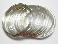 100 Loops Silver Tone Memory Wire for Beading Bracelet Bangle 60mm