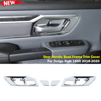 Interior Door Handle Bowl Frame Trim Cover for Dodge Ram 1500 2018-2020 Chrome