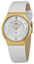 Skagen SKW2027 Mother of Pearl Dial Leather Strap Women's Watch
