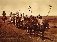 Vintage EDWARD CURTIS American Indian Atsina Warriors GOLDTONE Photo Art 12x16