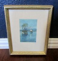 Signed Framed Watercolor Pen Ink Art Print Water Landscape