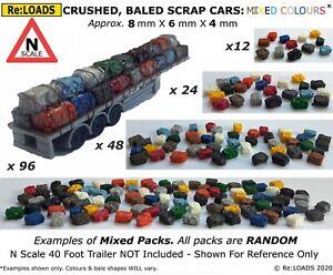 N Gauge N Scale Crushed Baled SCRAP CARS, Model Road & Rail Loads & Scrapyards