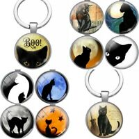 Cat Keyring Gift Keychain Key Ring Silver Fob Kitten Lover Bag Charm Chain (TH)