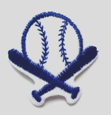 "Baseball Patch Baseball Bat and Ball Patch Applique Iron-on 2"" White Blue #9"