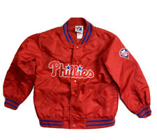 Vintage Majestic Phillies Satin Snap Up Jacket Youth Size 7 Red Baseball Philly