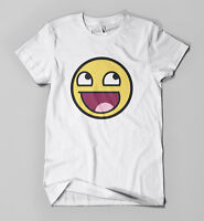 Awesome T-shirt   Funny Parody Tee   Mens Girls Acid 90's Smiley Face Print Top