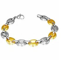 WOMAN STEEL BRACELET & GOLD PLATED LARGE BEANS 0 3/8in 7 15/32in NEW BHB444