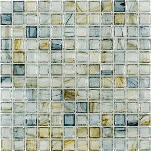 Classic Uniform Square Blue Glossy Glass Backsplash Mosaic Tile Kitchen MTO0084