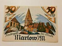 MARLOW REUTERGELD NOTGELD 50 PFENNIG 1922 NOTGELDSCHEIN (10816)