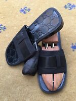 Gucci Mens Sandals Thongs Flip Flop Canvas Embossed Leather Shoes UK 7 US 8 41