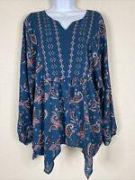 Style & Co Womens Size L Blue Boho Paisley Pattern Blouse 3/4 Sleeve V Neck