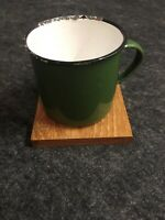"Vintage Metal Green Enamel Camping Mug 3-1/2"" Diameter 3-1/8"" Tall Rough"