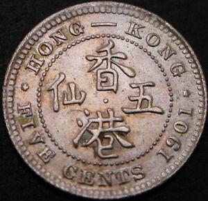 HONG KONG 5 Cents 1901 - Silver - XF/aUNC - 1229 ¤
