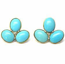 Faraone Mennella Gold Turquoise Diamond Earrings