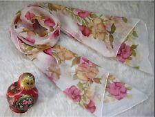 Jolie Echarpe Florale Rose/Blanc/Brun en Lin Apocynum de Xinjiang 160x50cm