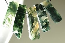 Moss Agate Mocha Stone Rough Cut Stick Pendant - 32mm x 9.5mm - 5 pieces - 3910A