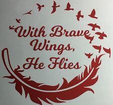 In Loving Memory of Custom Car Vinyl Decal Window Sticker With Brave Wings