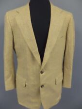 ROYAL CLASSIC Beige Blue Yellow Wool Plaid Lined Two Button Blazer Jacket DD6835