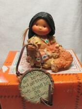 1999 Enesco Friends Of The Feather Girl With Wolf Figurine Ob