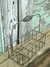 New listing Rustic Metal Wire Farmhouse Caddy Cruet Bottle Rack Flowerpot Carrier Rusty