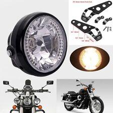 "7"" Round Motorcycle Bike Headlight LED Turn Signal Light Bracket Mount Universal"