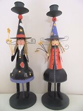 Two's Company Halloween Sister Witches Pillar Candle Stick Holder Pair Whimsical