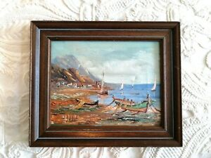 Vintage Retro Oil Landscape Seascape Mountains Boats Canvas Framed Small signed