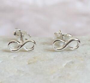 Silver Infinity Earrings Solid Sterling 925 Eternity Karma Friendship Ear Studs
