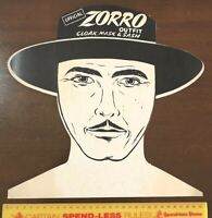 ZORRO VINTAGE TV SERIES BIG COSTUME HEADER CARD DISNEY AUSSIE ONLY LINDSAYS VGC!