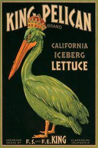 King Pelican California Iceberg Lettuce Food USA Vintage Poster Repro FREE S/H