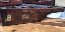 unusual vintage leather leg of mutton shotgun rifle case with shoulder strap