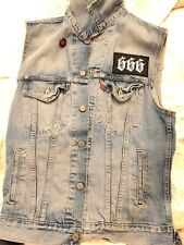 Men's Small Trucker Jean Jacket  Vest With Satanic Patches Hand Stitched