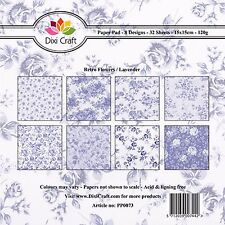 "Dixi Craft 8 Designs Paper Pack 6"" Card Making 32 Sheets RETRO FLOWERS Lavender"