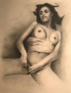 Nude Female ORIGINAL DRAWING Graphite