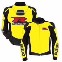 Suzuki GSXR Motorbike Jackets Black Yellow Leather Racing Motorcycle CE Armors