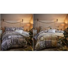 Catherine Lansfield Christmas Greetings Duvet Cover Set Gold Double