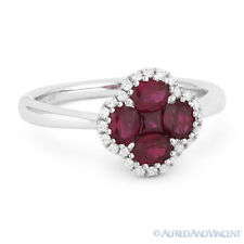 Right-Hand Flower Ring in 18k White Gold 1.09 ct Red Ruby Cluster & Diamond Pave