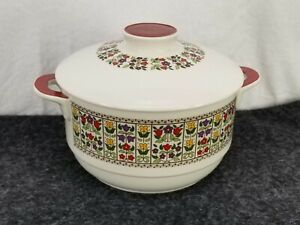 ROYAL DOULTON CHINA FIREGLOW 1.25QT ROUND FLORAL CASSEROLE DISH RED HANDLES LID