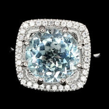 Cushion Sky Blue Topaz 11mm Cz 14K White Gold Plate 925 Sterling Silver Ring 8