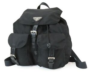 Authentic PRADA Black Nylon and Leather Backpack Bag Purse #40059