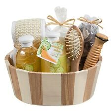 Beauty Spa Set with 2 Tone Natural Wooden Basket Perfect Gift Idea for Women