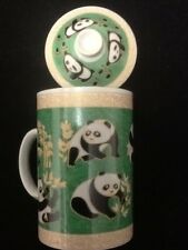 Chinese Porcelain Tea Cup Handled Infuser Strainer with Lid 10 oz Panda. Green