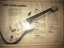 VINTAGE 1972 Fender AD PINUP POSTER MANUAL INSTRUCTIONAL HOW TO PICK GUITAR BODY