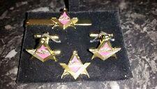 Gilt Airborne Square + Compass Cufflink, Tieslide +  lapelpin set, Masonic, Army