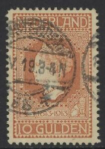 NETHERLANDS 1913 Centenary 10 Gld. NVPH Nr.101, used ⊙ (10¢ combined shipping)