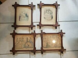 4 Godeys Lady's Book Magazine page Carved Wood Glass Framed Antique 1800s