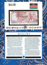 E Banknotes of All Nations Malawi 1992 1 Kwacha P23b UNC Prefix CV